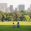 Enjoying relaxing outdoors in Central Park in New York. - Stock Photo