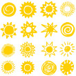 Sun collection, hand made - Stock Vector