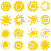 Sun collection, hand made — Stock Vector
