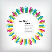 Concept d'équipe de travail. hommes et femmes — Vecteur