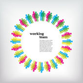 Work team concept. Men and Women — Stok Vektör