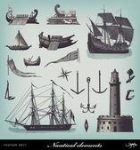 Engraving vintage Nautical set — Stock Vector
