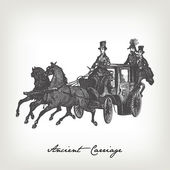 Old engraved carriage illustration — Stock Vector