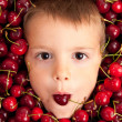 Kid smiling face portrait surrounded by cherries — Stock Photo #14830875
