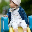 One year old girl outdoor portrait — Stock Photo