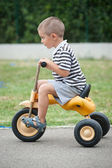 Four year old kid playing outdoor on tricycle — Zdjęcie stockowe