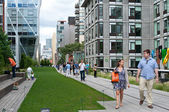 High Line Park in NYC. The High Line is a public park built on a — Stock Photo