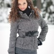Portrait of beautiful girl in winter time -  