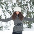 Portrait of beautiful girl in winter time - Stockfoto