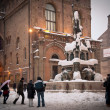BOLOGNA, ITALY - FEBRUARY 4: enjoying snow in Neptune square in Bologna, Italy - Stok fotoğraf