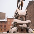 Fountain of Neptune covered by snow. Bologna. Italy — Stock Photo