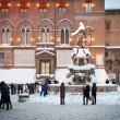 BOLOGNA, ITALY - FEBRUARY 4: enjoying snow in Maggiore square in Bologna, Italy - Stok fotoğraf