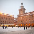 Stock Photo: BOLOGNA, ITALY - FEBRUARY 4: enjoying snow in Maggiore square in Bologna, Italy