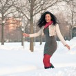 Portrait of beautiful girl in winter time having fun with snow. — Stock Photo