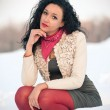 Portrait of beautiful girl in winter time with snow — Stock Photo #14976643