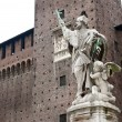 Statue of Saint inside the courtyard of Sforza Castle in Milan, Italy — Stock Photo