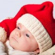 Newborn baby with christmas hat — Stock Photo