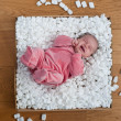 Newborn baby in a packaging box - Stock Photo