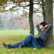 Relaxed man outdoor. Intense portrait — Stock Photo