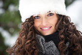 Portrait of beautiful girl smiling in winter time — Stock Photo