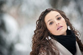 Close up portrait of beautiful girl in winter time — Stock Photo