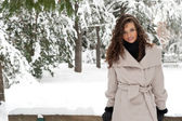 Portrait of beautiful girl in winter time — Stock Photo