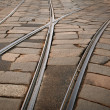 Tram rails background. Milan, Italy - Stock Photo