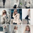 Collage of young attractive business woman with fur in front of wall on the background — Stock Photo