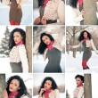 Collage of beautiful girl in winter time having fun with snow — Stock Photo