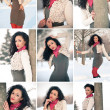 Collage of beautiful girl in winter time having fun with snow — Stockfoto