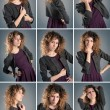Collage of beautiful curly girl posing against grey background — Stok fotoğraf