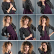 Collage of beautiful curly girl posing against grey background — Stock Photo