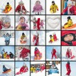 Collage of kids playing in the snow images - Stock Photo