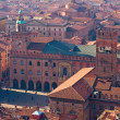 Panoramic view of the roofs of Bologna. Main square — Stock Photo