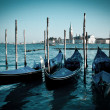 Grand canal view with gondolas. Venice, Italy. Blue tone — Stock Photo