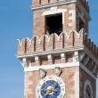 Clock Tower at the entrance of the Arsenale. Venice, Italy - Stock Photo