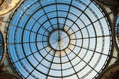 Glass dome of Galleria Vittorio Emanuele II shopping gallery. Milan, Italy — Foto de Stock