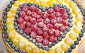Frukt paj bakgrund. kort skärpedjup — Stockfoto