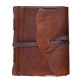 Leather diary book on white background — Stock Photo