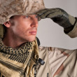 Stock Photo: Portrait of exploring soldier