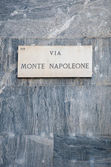 Via Monte Napoleone sign, famous street for fashion and luxury — Stock Photo