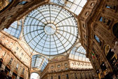 Glass dome of Galleria Vittorio Emanuele II shopping gallery. Milan, Italy — Stock Photo