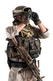 Soldier with binoculars against white background — Stock Photo