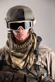 Close up portrait of soldier with mask and helmet — Stock Photo