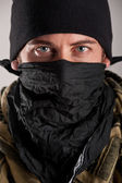 Portrait of soldier. Close up on eyes — Stock Photo