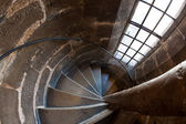 Wide angle view of spiral staircase inside the Cathedral of Valencia, Spain — Stock Photo