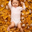4 month baby lying on autumn leaves — Stock Photo