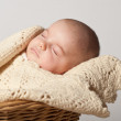Stock Photo: Portrait of one month old baby sleeping