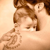 Father and daughter portrait. Sepia tone — Stock Photo