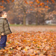 Happy kid outside in a park. Red foliage — Stock Photo